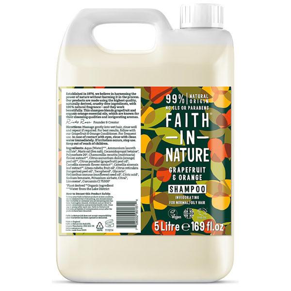Faith In Nature 5L Grapefruit and Orange shampoo