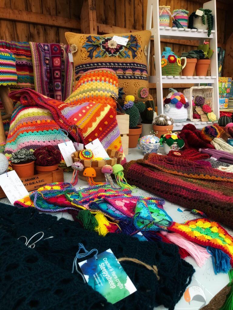 wooly hats for sale at craft fair near edinburgh